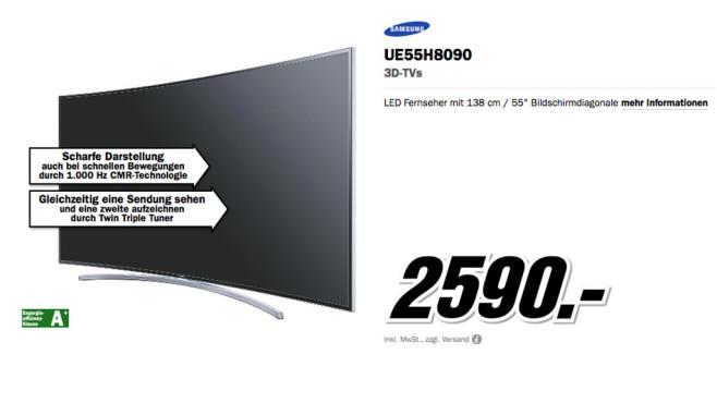 Samsung UE55H8090 ©Media Markt