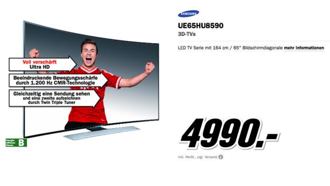 Samsung UE65HU8590 ©Media Markt
