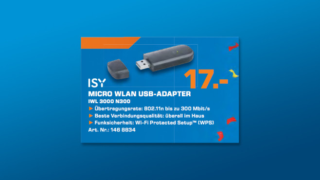ISY WLAN USB-Adapter IWL 3000 N300 © Saturn
