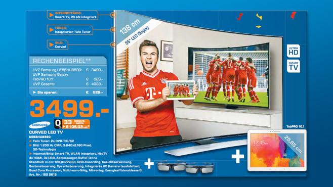 Samsung 55-Zoll-TV und Samsung-Tablet ©Saturn