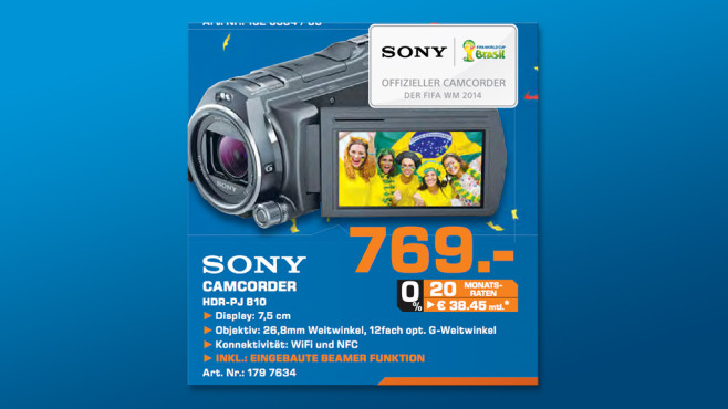 Sony HDR-PJ810E ©Saturn