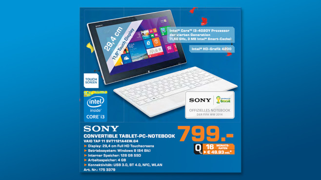 Sony Vaio Tap 11 SVT1121A4EW.G4 inkl. Tastatur ©Saturn