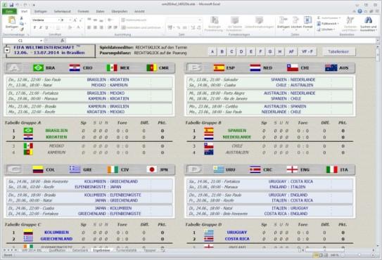 Excel WM 2014 Tippspiel ©COMPUTER BILD