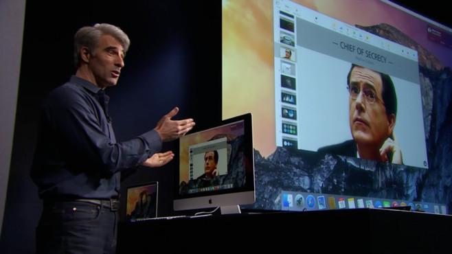 Craig Federighi telefoniert mit Stephen Colbert ©Apple, COMPUTER BILD