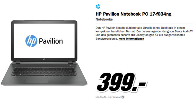 HP Pavilion Notebook PC 17-f034ng © Media Markt