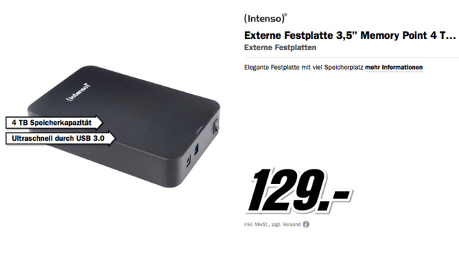 Intenso Memory Center 4TB © Media Markt