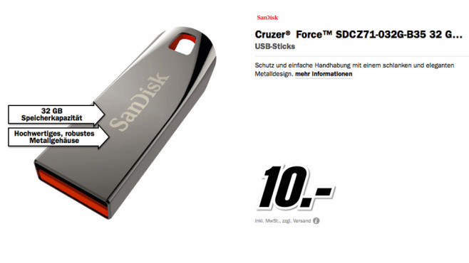 Sandisk Cruzer Force 32GB © Media Markt