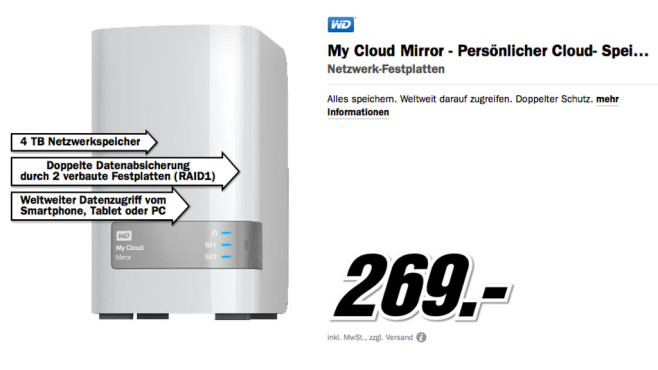 WD My Cloud Mirror 4TB © Media Markt