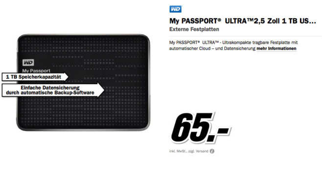 Western Digital My Passport Ultra 1TB © Media Markt