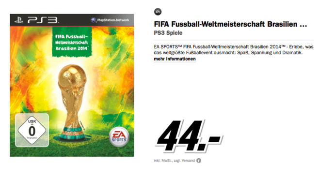 FIFA Fu�ball-WM Brasilien 2014 f�r PlayStation 3 © Media Markt