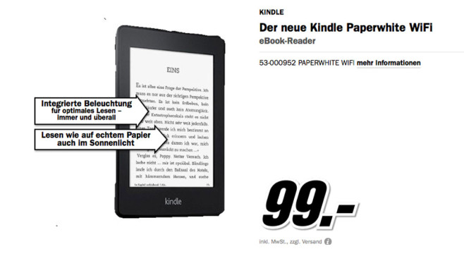 Kindle Paperwhite WiFi © Media Markt