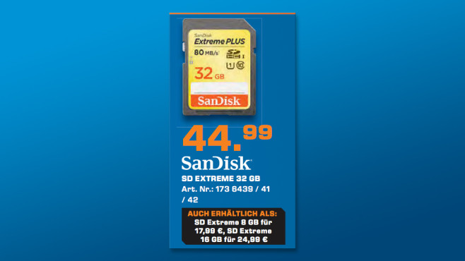 Sandisk Extreme SDHC 32GB Class 10 UHS-I (SDSDXS-032G-X46) © Saturn