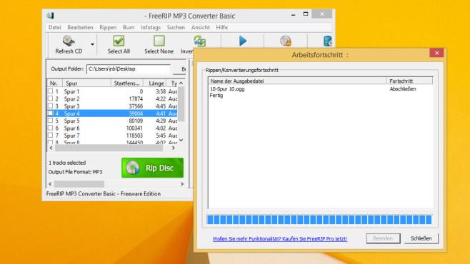 FreeRIP MP3 Converter: Rippen und brennen ©COMPUTER BILD