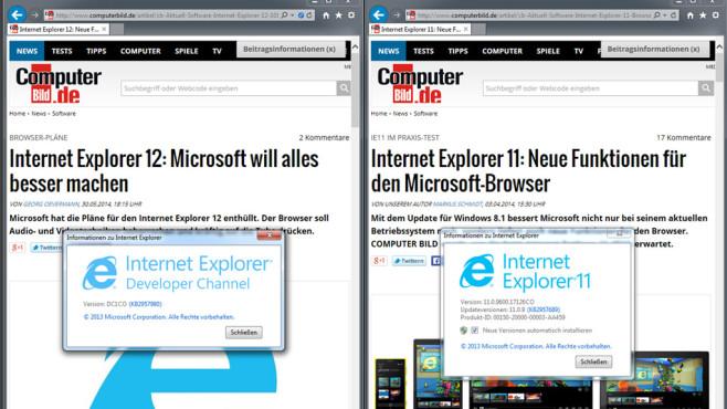 Internet Explorer: Developer Channel ©COMPUTER BILD
