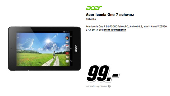 Acer Iconia One 7 © Media Markt
