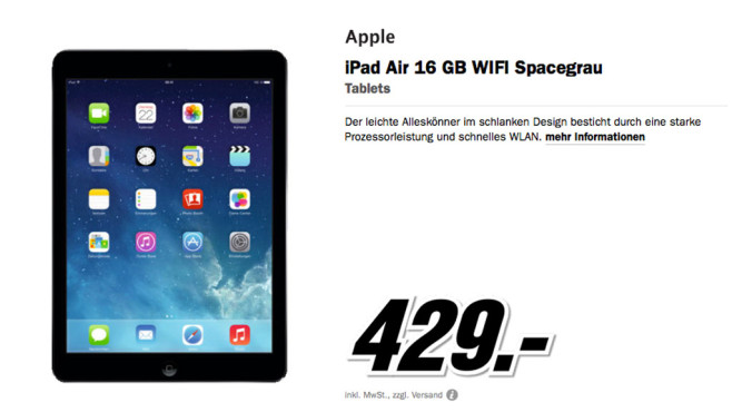 Apple iPad Air WiFi 16 Gigabyte © Media Markt