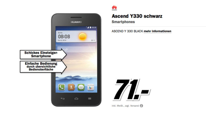 Huawei Ascend Y330 © Media Markt