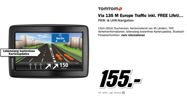 TomTom Via 135 M Europa Traffic © Media Markt