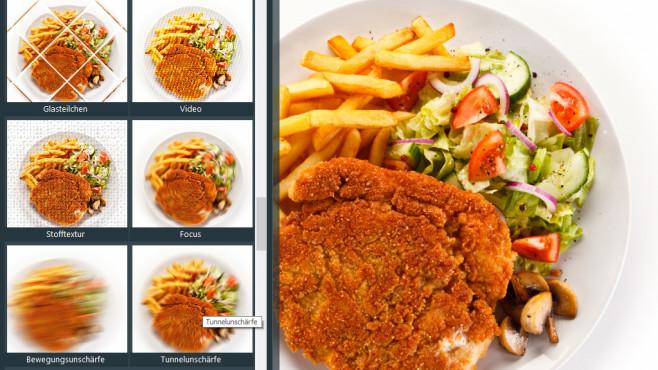 Geeignete Filter je nach Motiv ©Fotolia--Jacek Chabraszewski-Fried pork chop, French fries and vegetables