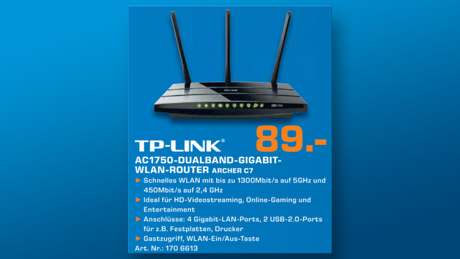 TP-LINK Archer C7 - Wireless AC1750 Dualband Gigabit Router © Saturn