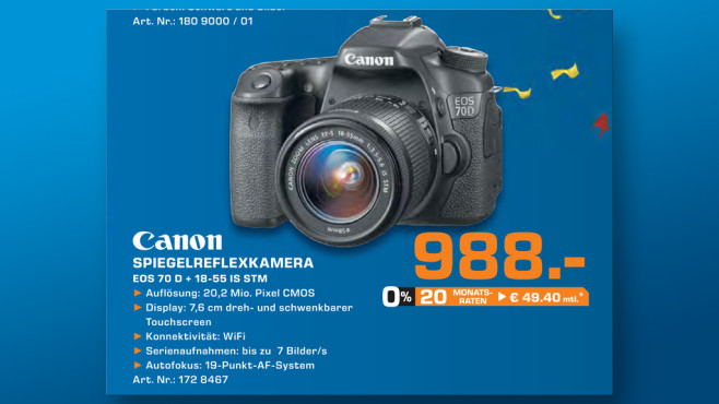 Canon EOS 70D Kit 18-55 mm © Saturn