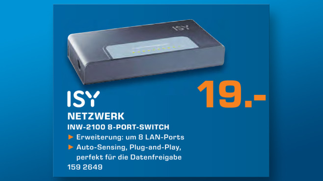 ISY INW 2100 8-Port Netzwerk Switch © Saturn