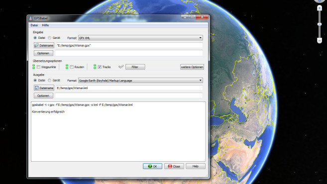 how to change gps format in google earth