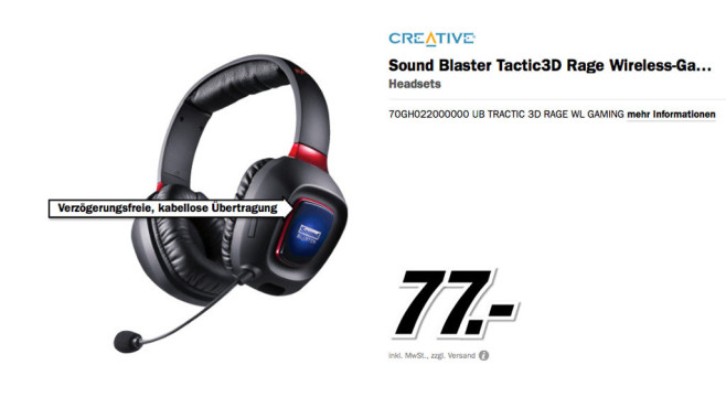 Creative Sound Blaster Tactic3D Rage Wireless © Media Markt
