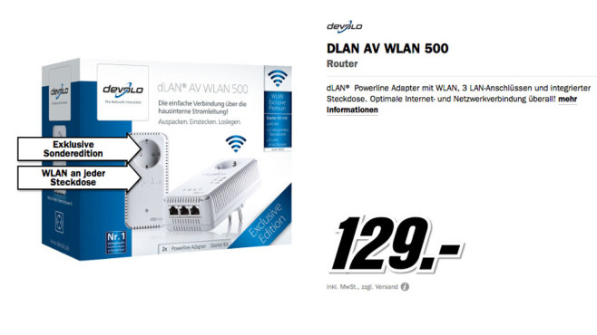 devolo dLAN 500 AV Wireless+ Starter Kit © Media Markt