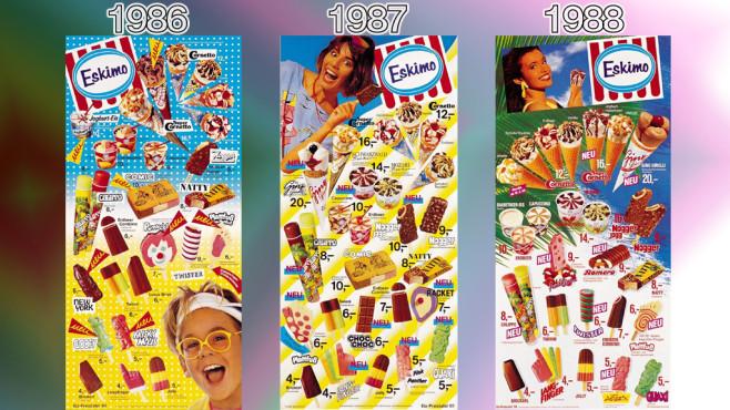 Eistafeln von Eskimo (Langnese): 1986 - 1988 ©Eskimo, Unilever