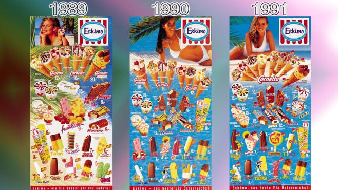Eistafeln von Eskimo (Langnese): 1989 - 1991 ©Eskimo, Unilever