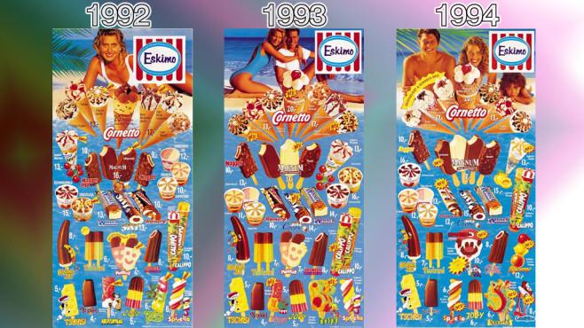 Eistafeln von Eskimo (Langnese): 1992 - 1994 ©Eskimo, Unilever