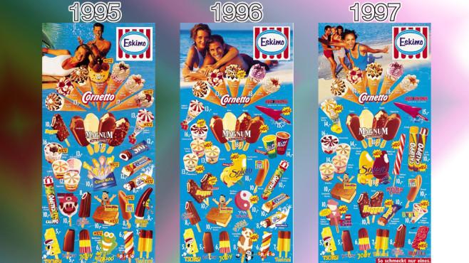 Eistafeln von Eskimo (Langnese): 1995 - 1997 ©Eskimo, Unilever