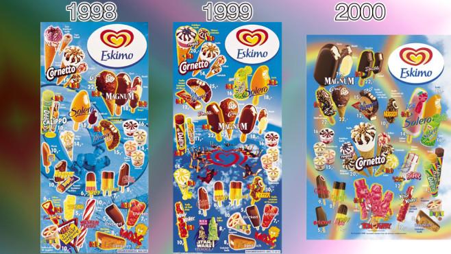 Eistafeln von Eskimo (Langnese): 1998 - 2000 ©Eskimo, Unilever