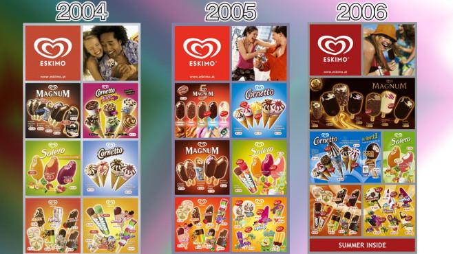 Eistafeln von Eskimo (Langnese): 2004 - 2006 ©Eskimo, Unilever