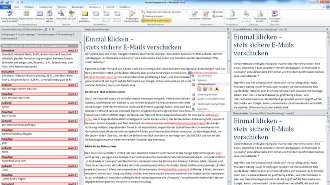 Dokumente vergleichen ©Microsoft/COMPUTER BILD