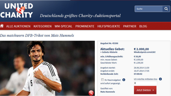 Online-Auktion: Shirt Hummels © United Charity