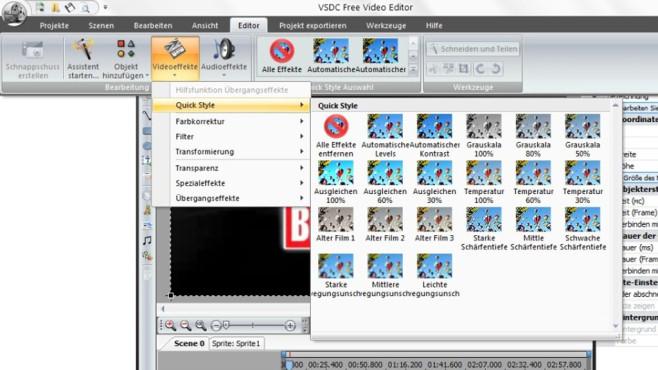 VSDC Free Video Editor: Übersichtlicher, üppiger Bearbeitungskasten ©COMPUTER BILD