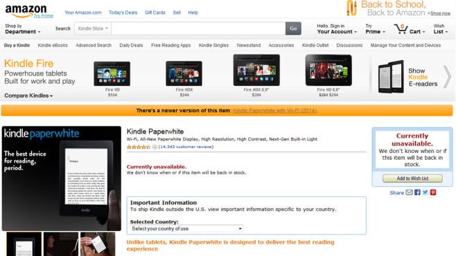 Amazon Kindle Paperwhite © 2014 Amazon, COMPUTER BILD