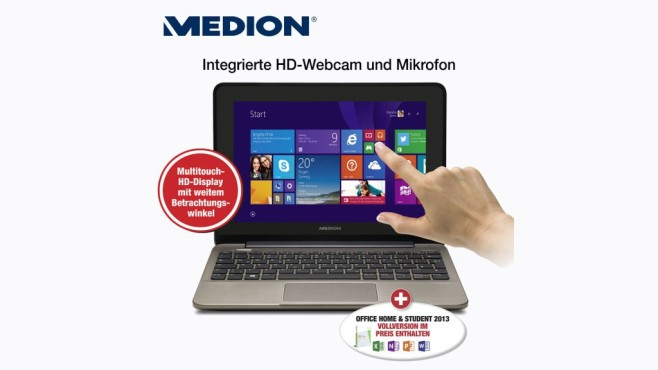 Notebook: Medion Akoya E1232T (MD 99410) © Aldi Nord