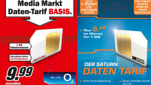 Media-Saturn startet mit eigenen Datentarifen Neue Tarife: Für 9,99 Euro im Monat bekommen Sie bei Media Markt und Saturn ab sofort 1 Gigabyte Datenvolumen. ©Media Markt, Saturn