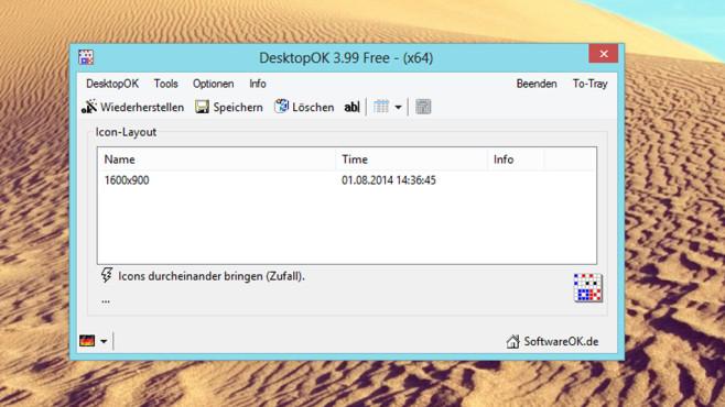 DesktopOK: Symbol-Anordnung sichern ©COMPUTER BILD
