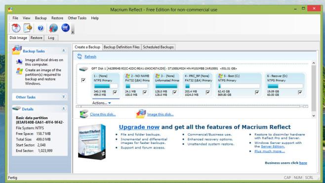 Macrium Reflect Free: Laufwerk vollständig sichern ©COMPUTER BILD