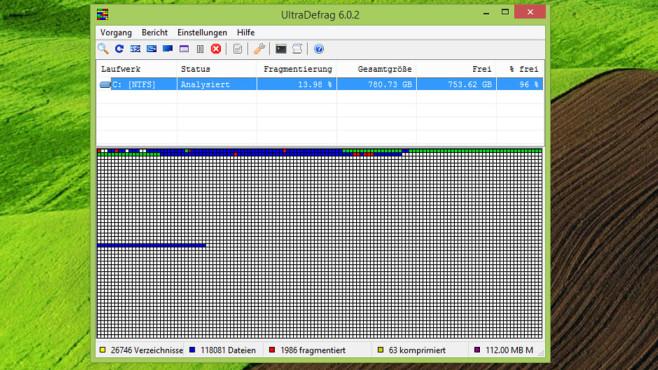 UltraDefrag: Festplatte defragmentieren ©COMPUTER BILD