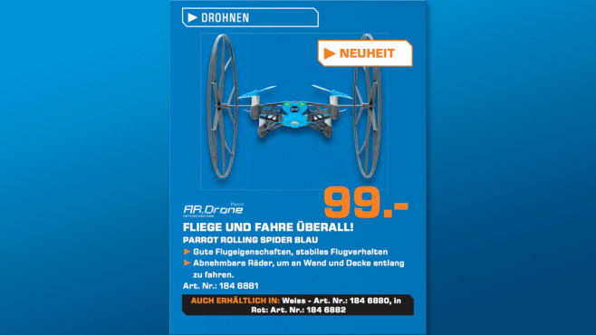AR Drone Parrot Rolling Spider ©Saturn