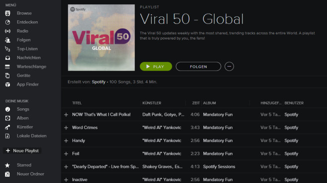 Spotify Viral 50 (Desktop, App) ©COMPUTER BILD