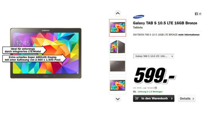 Samsung Galaxy Tab S 10.5 LTE ©Media Markt