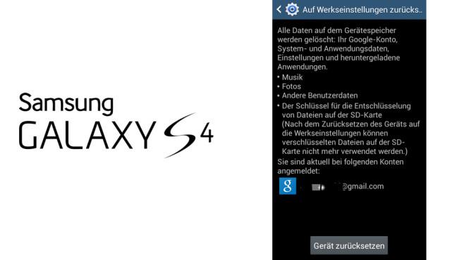 S4 auf Werkeinstellungen zurücksetzen ©COMPUTER BILD, Samsung