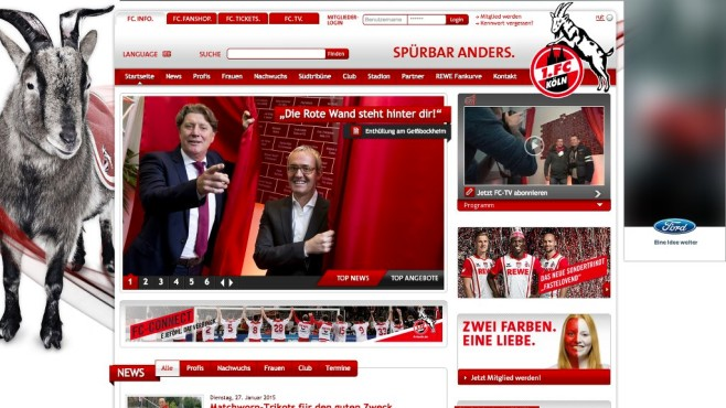 Screenshot Homepage 1. FC Köln © 1. FC Köln