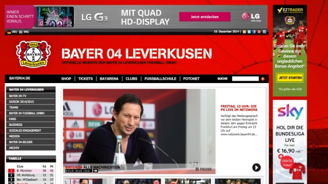 Screenshot Homepage Bayer 04 Leverkusen © Bayer 04 Leverkusen